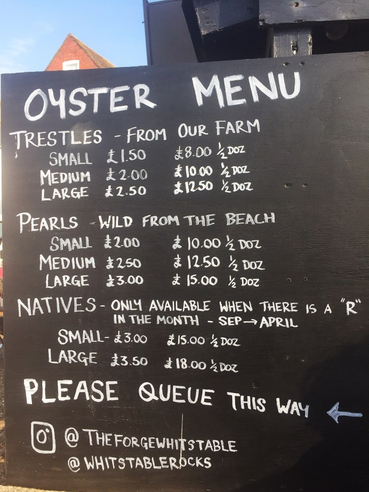 The Forge's menu - Whitstable day trip seaside town things to do