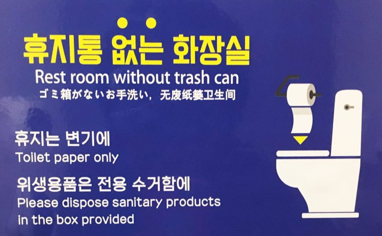 Toilet instructions in Hangul and English