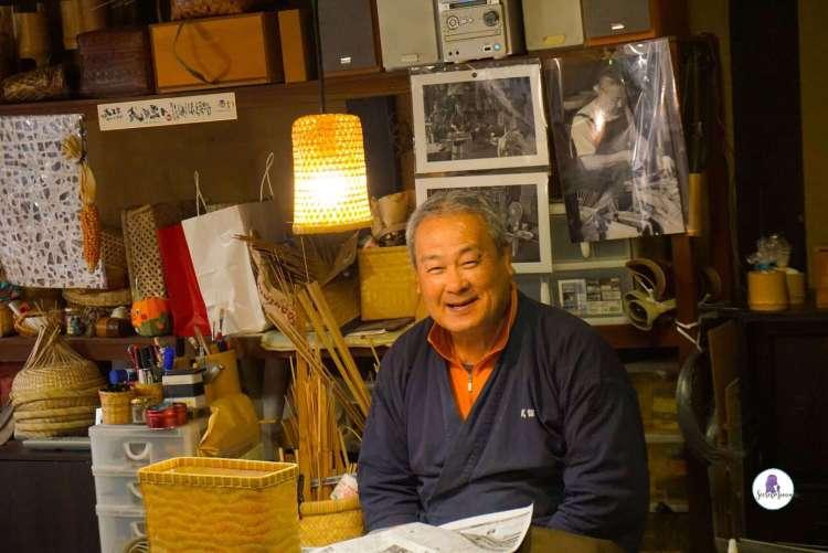 Bamboo craftsman in the Japanese village of Uchiko