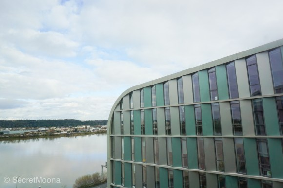 View over Garonne River and building from hotel room