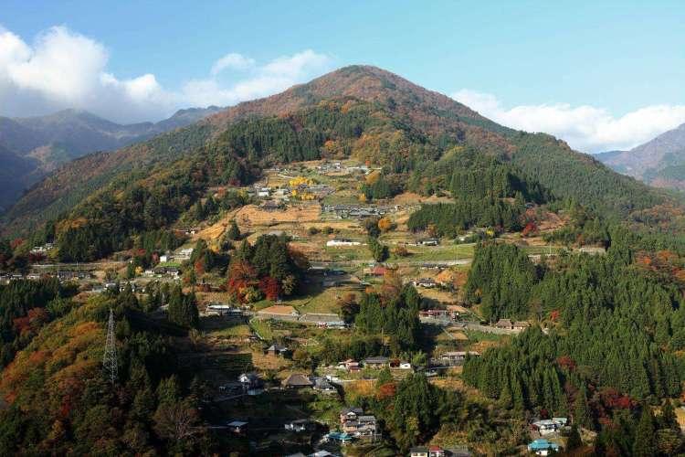 View of hilltop Ochiai Village, Shikoku from observation deck