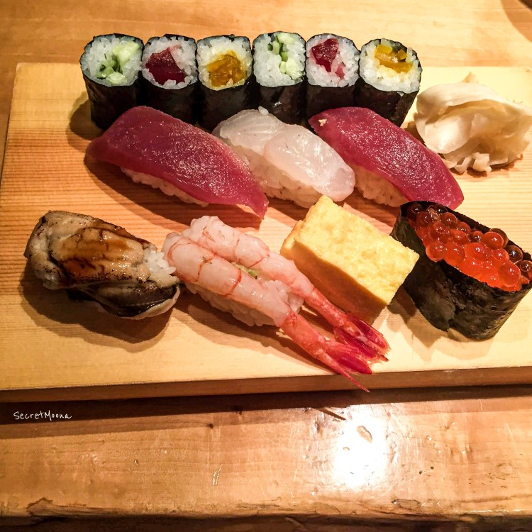 Platter of sushi, essential part of Japanese cuisine