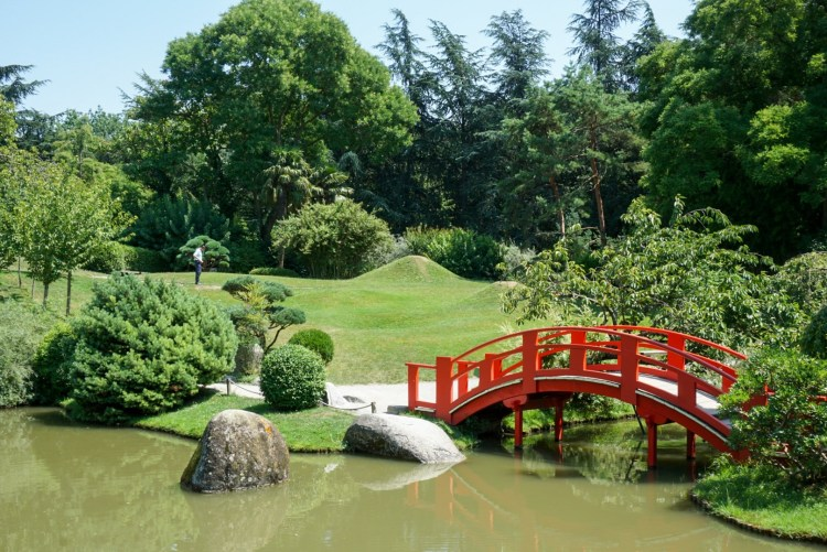 Japanese garden with red bride, Toulouse - France