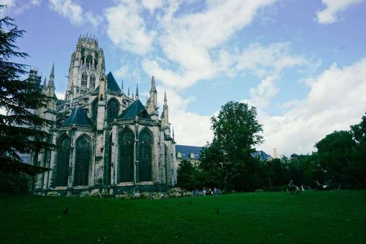 View of Abbey Saint-Ouen from the garden, Rouen
