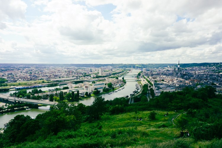 Panoramic view over Rouen at Cote Sainte Catherine