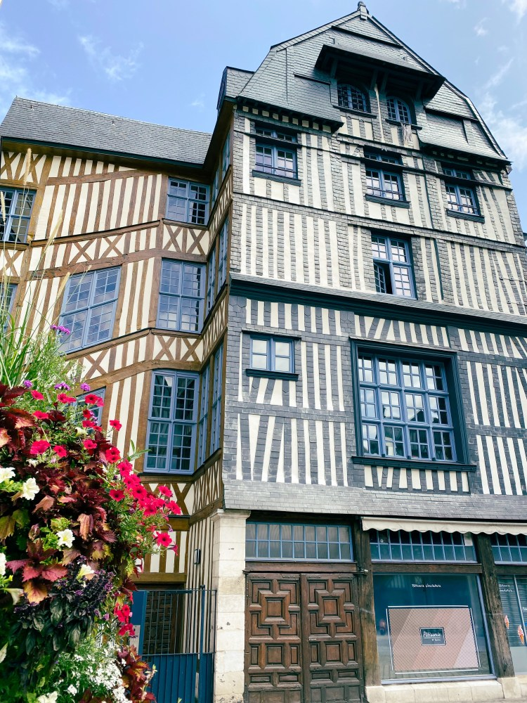 Beautiful half-timbered buildings, Old Town Centre, Rouen Normandy