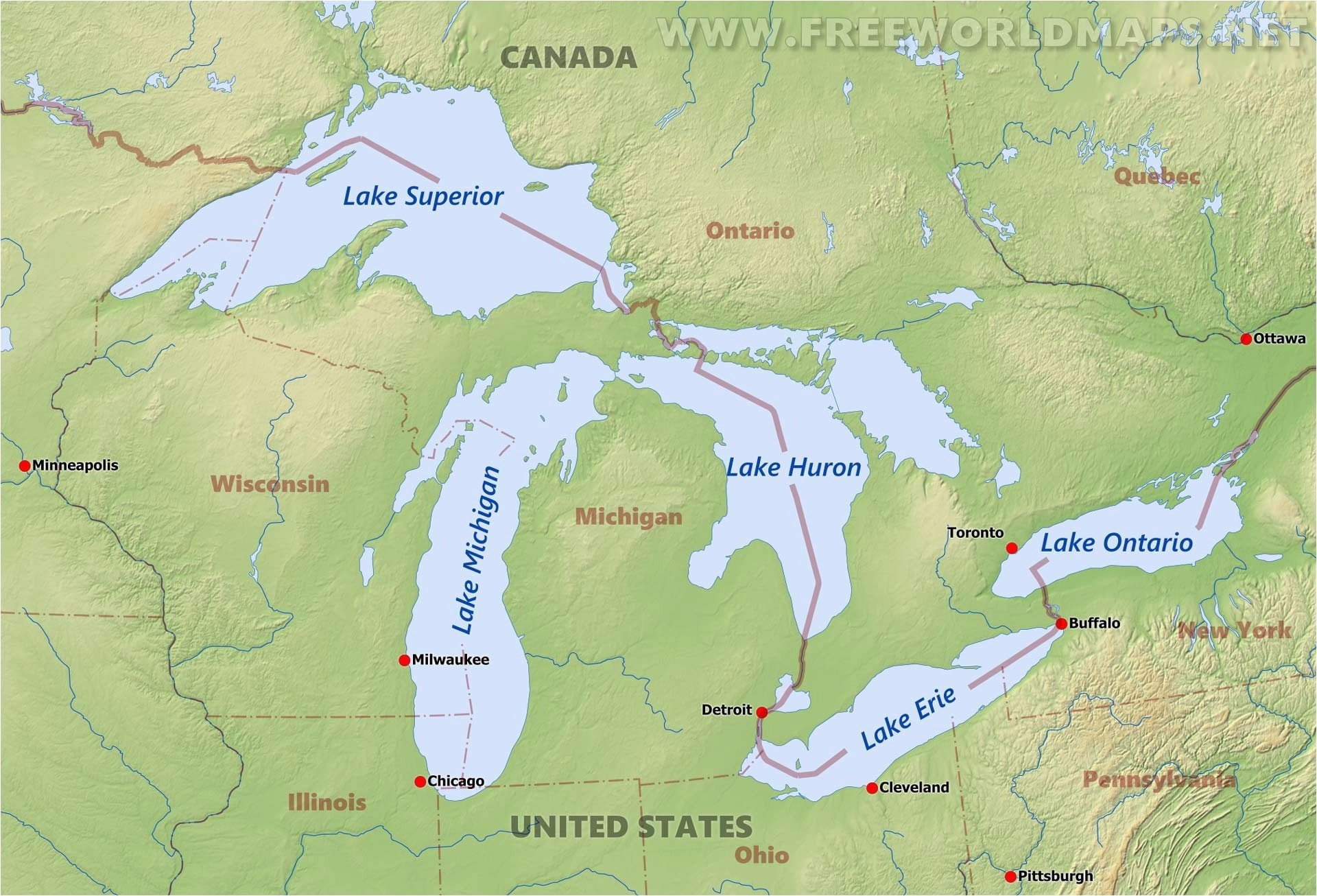Map Of Michigan And The Great Lakes