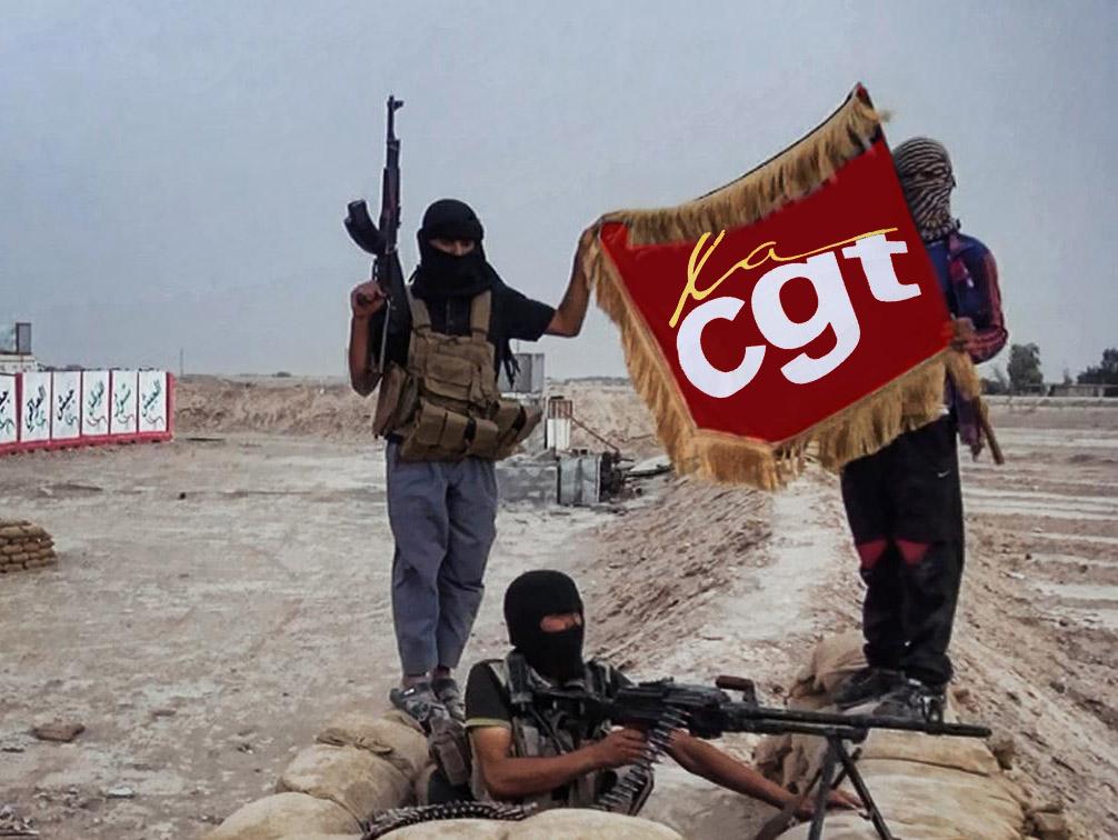 """Militant-Etat-Islamique-cgt-greve-manigestation-drapeau Grève générale chez les terroristes de l'État Islamique : """"On ne peut plus faire notre job correctement !"""""""