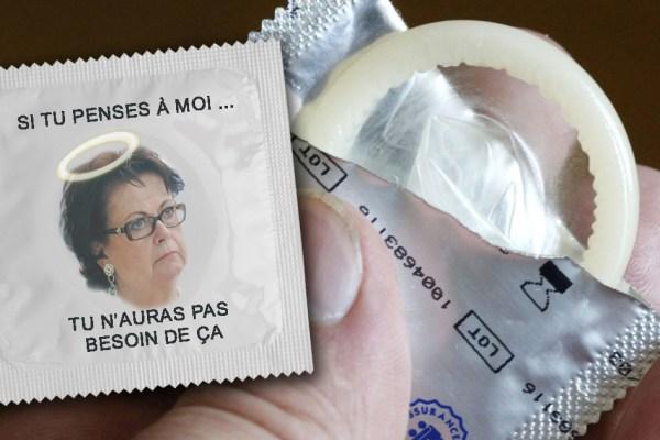 La tête de Christine Boutin sur des préservatifs pour une campagne de prévention contre la contraception