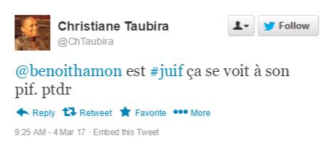 """rwl9k """"Benoit Hamon est juif, ça se voit à son pif"""" - Les tweets antisémites de Christiane Taubira"""