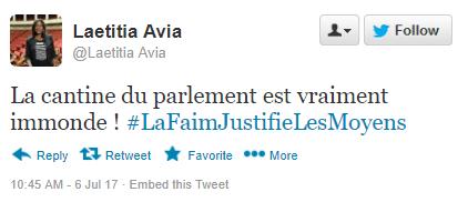 """tweet-laeticia-avia-taxi """"La cantine du Parlement est immonde !"""" - Laetitia Avia s'explique après avoir mordu un chauffeur de taxi"""