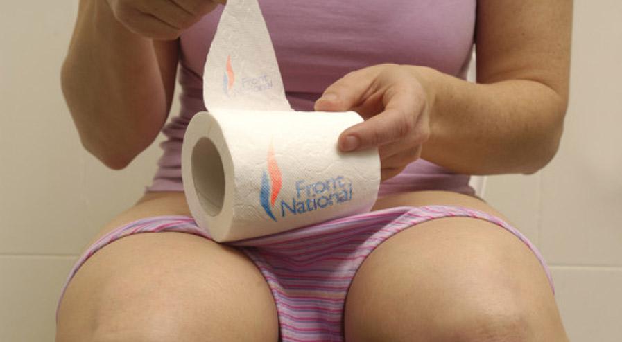 """""""On est chez nous"""" : le slogan des militants FN lié à l'origine à... la constipation."""