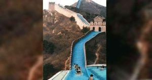 La grande muraille de Chine transformée en toboggan aquatique géant
