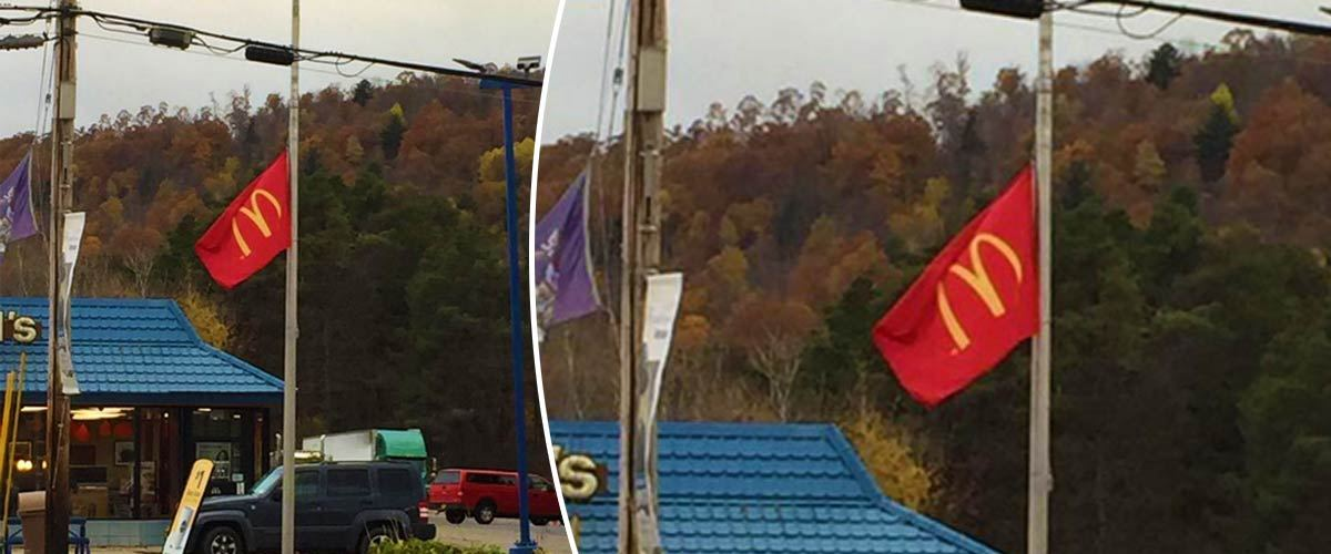 Les drapeaux de McDonald's en berne pour rendre hommage aux victimes de la malbouffe
