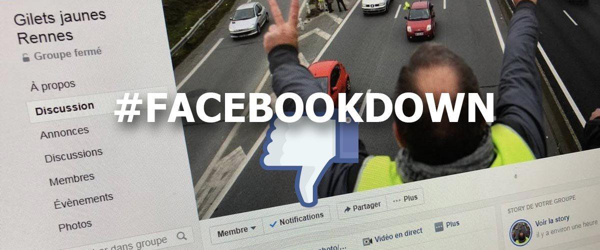 La panne Facebook causée par la suractivité des groupes Gilets Jaunes