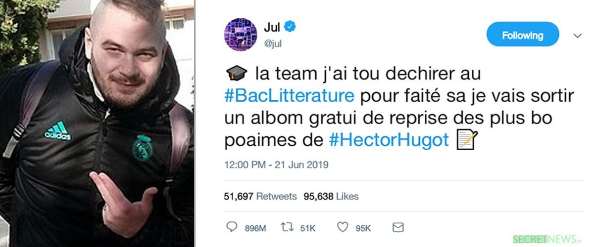 Jul annonce un album gratuit composé des poèmes de ... Hector Hugot