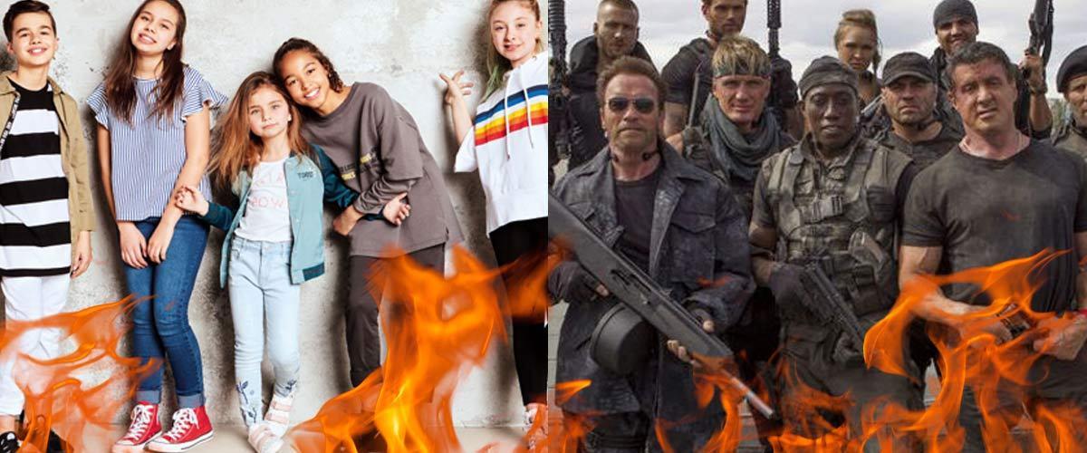 """Les Kids United défient les Expendables dans un combat """"à mort"""" sur un ring en feu"""