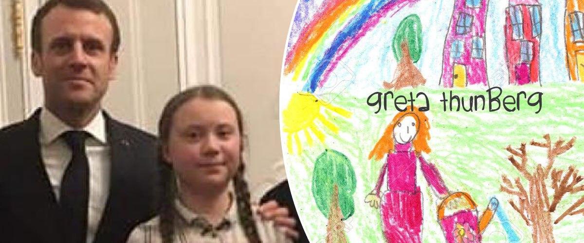 Pour sauver la planète, Greta Thunberg offre un beau dessin à Emmanuel Macron