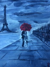 "8x10 Acrylic Painting ""Paris in Love"""