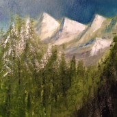 12x12 Acrylic Painting. Painted on New Years Day 2014 while in Yosemite.