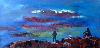 """Painting #3: 12""""x24"""" Oil Painting inspired by a Sunset off the Pacific Coast Highway (not done)"""