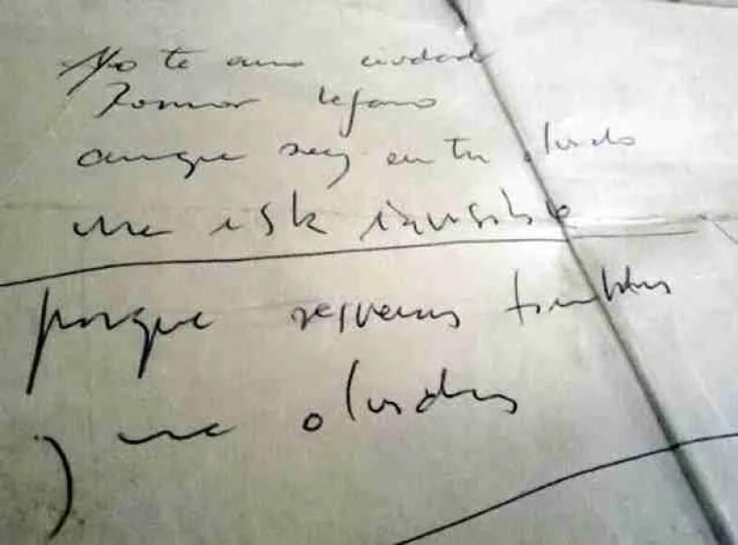Manuscrito original con la adaptación de Carlos Cano del poema de gastón Baquero. (Cortesía de Gilda)