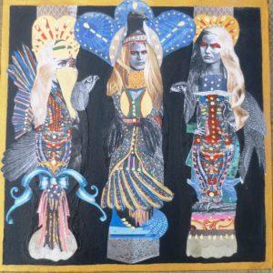 Birdgirls.-Collage-on-Canvas.-30-x-30-cm