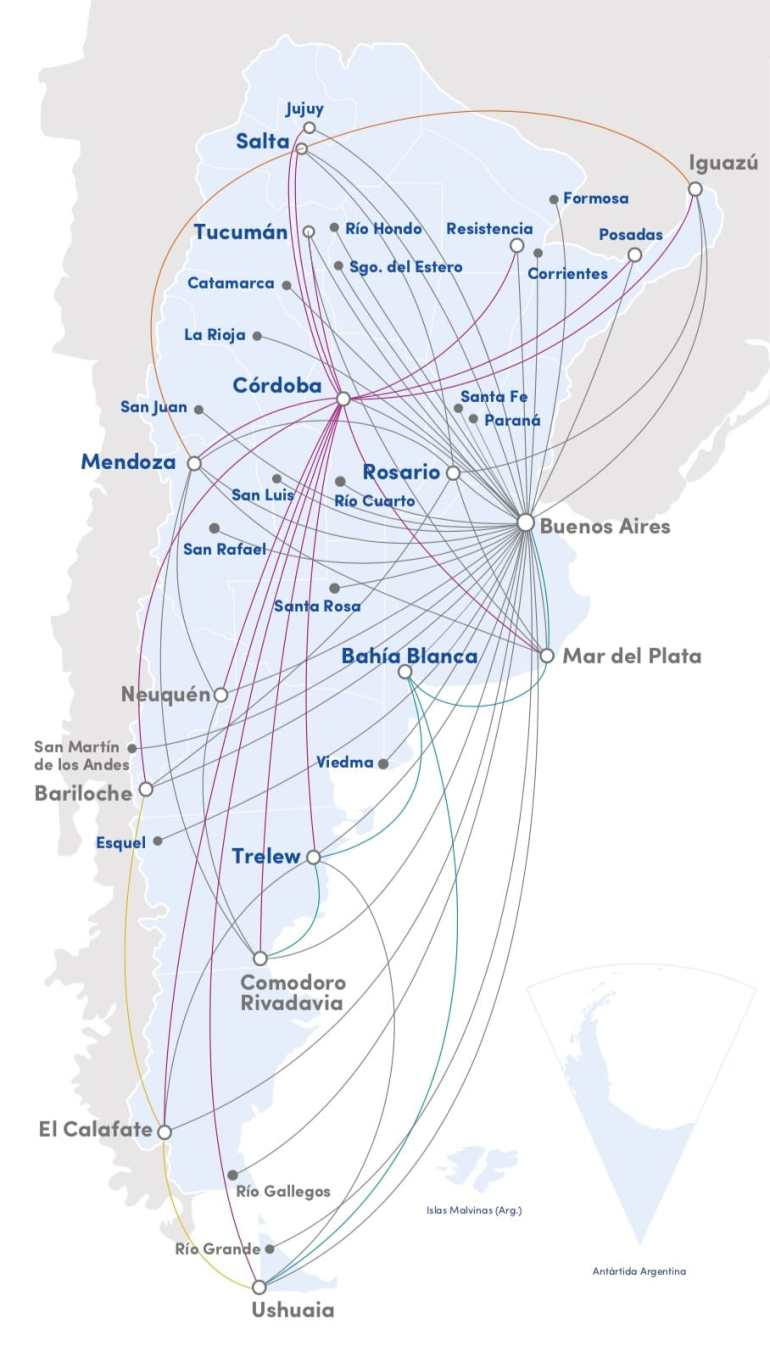 aerolineas argentinas route map Domestic Flights In Argentina All Information To Plan Your Trip aerolineas argentinas route map
