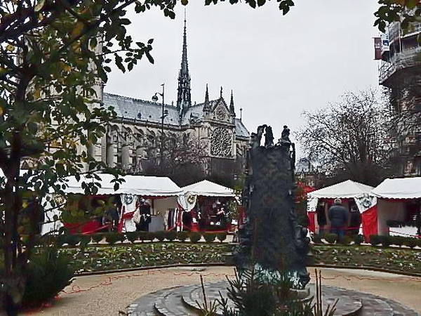 Christmas village in front of Notre Dame