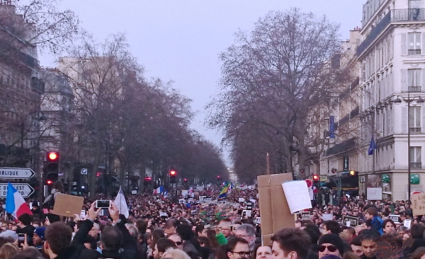 Crowded street during protest march