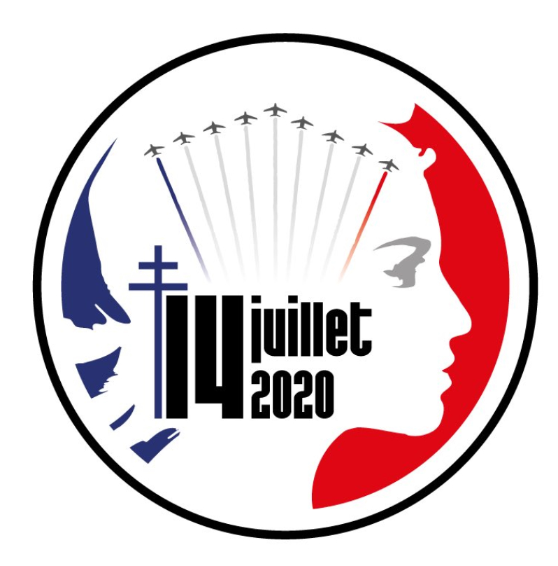 The official Fête Nationale 2020 logo of the French Ministry of Armed Services.