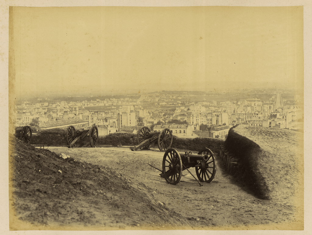 historic image of cannons on Paris hilltop