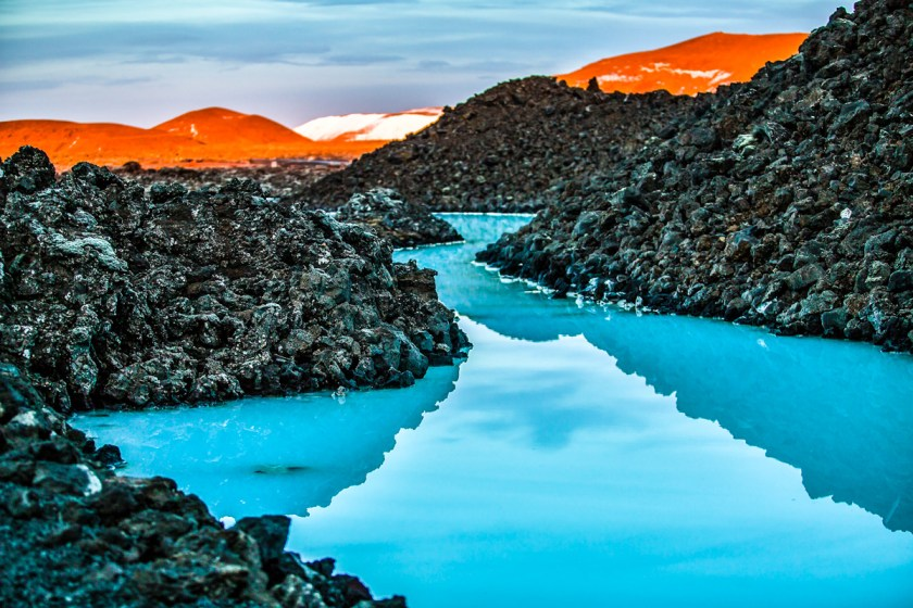Blue lagoon - Volcanic formations filled with white-blue warm water