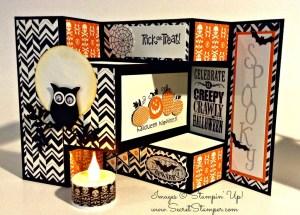 By Debbie Mageed, Halloween, Fun Fold, Tri-Shutter Fold, Stampin' Up!, Halloween Happiness, Best of Halloween, Mixed Medley, Halloween Bash, Notable Alphabet, Owl Builder Punch