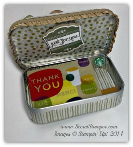 Upcycled, Altoid Tin, Lots of Thanks, Spiral Flower die, Peaceful Petals Inside with card
