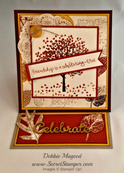 By Debbie Mageed, Sheltering Tree, French Foliage, easel card, Stampin up
