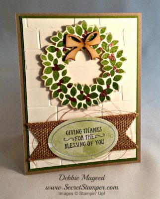 By Debbie Mageed, Tin of Tags, Basket of Wishes, Frosted Medallions, Wondrous Wreath, Stampin Up