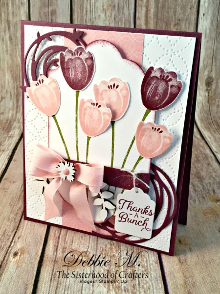 By Debbie Mageed, Tranquil Tulips, Beautiful Bouquet, Painted Harvest, Thank You, Stampin Up