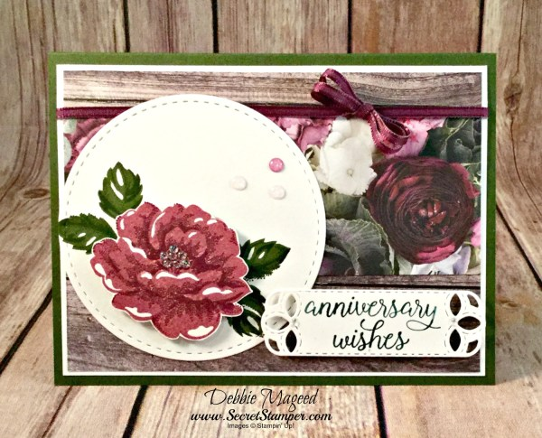 Beautiful Floral Card Featuring #StippledBlossoms, #FallingForYou, #Anniversary, #Wedding, #SecretsToStamping, #StampinUp
