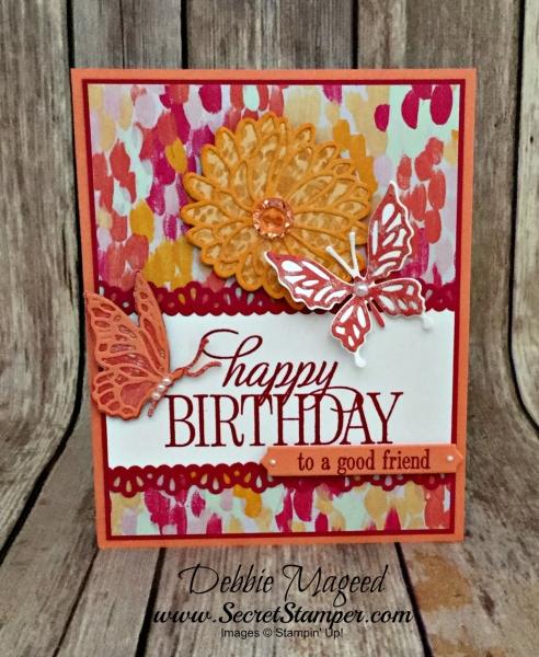 Cheerful Birthday Card Featuring #HappyBirthdayEveryone, #StitchedAllAround, #Birthday, #OhSoSucculent, #SecretsToStamping, #StampinUp