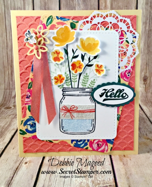 Floral Card Featuring #BeautifulBouquet, #JarOfLove, #AllOccasion, #SecretsToStamping, #StampinUp