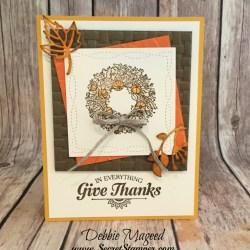 Thanksgiving Card Featuring #FullofBlessings, #SuiteSeasons, #StitchedSeasons, #Autumn, #Thanksgiving, #SecretsToStamping, #StampinUp