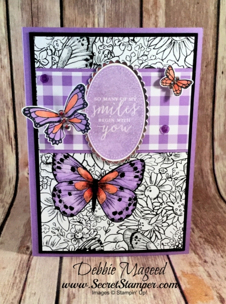 Sweet card featuring #ButterflyGala, #DetailsWithLove, #SneakPeek, #OccasionsCatalog, #SecretsToStamping, #StampinUp