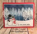 Winter Wonderland Card Featuring #Spirited Snowmen, #Winter Woods, #InTheWoodsThinlits, #holiday, #Christmas, #Winter, #SecretsToStamping, #StampinUp