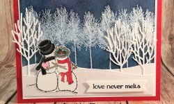 Winter Wonderland Card Featuring #Spirited Snowmen, #Winter Woods, #InTheWoodsThinlits, #holiday, #Christmas, #Winter, #SecretsToStamping, #StampinUp
