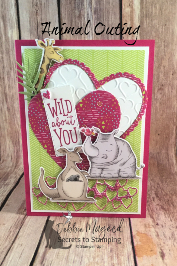 Learn how to make this card using Animal Outing stamp set and more! #DebbieMageed #SecretsToStamping #AnimalOuting  #Valentines