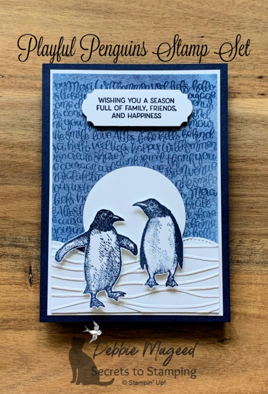 Fun Holiday Card Using Playful Penguins by Stampin' Up!