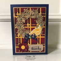Arrange a Wreath Plaid Thanksgiving Card for the Sisterhood of Crafters