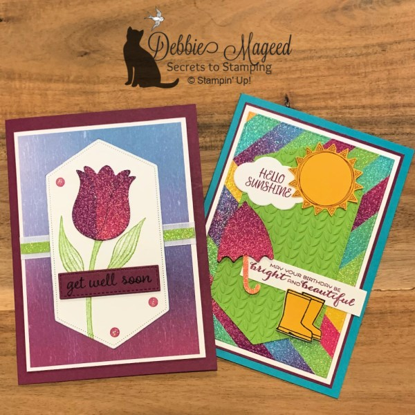 Cheerful Cards using Under My Umbrella and Timeless Tulips by Stampin' Up!