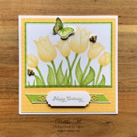 Yellow Timeless Tulips Birthday Card for the Sisterhood of Crafters